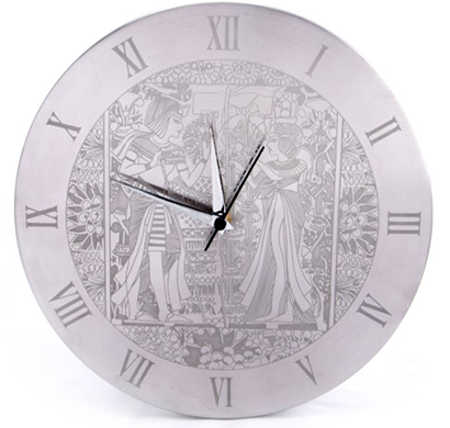 cosmosgalaxy i0162 egyptian stainless steel round wall clock for home, silver