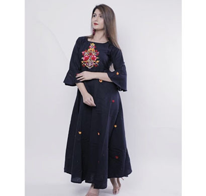 cotton embroidery work kurti cemb-001 (black and blue)
