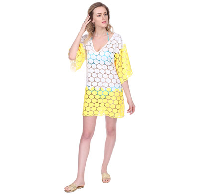 cream and yellow swim coverup beach dress