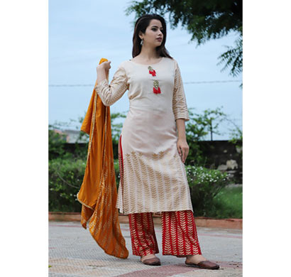 cream kurta with golden print, plazzo and dupatta prnt-001