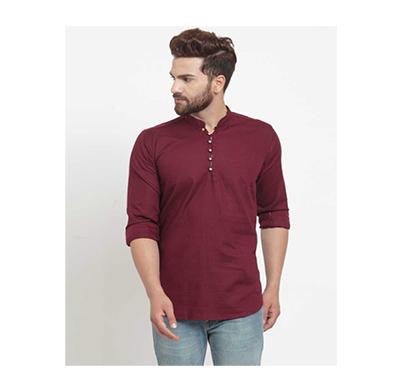 crunchy cotton satin mens shirt style basic kurta free size (mix color)