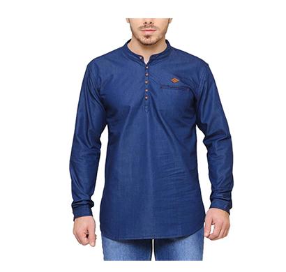 crunchy cotton satin mens denim washed kurta style shirts free size (mix color)
