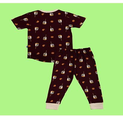 cuddledoo milk and cookies pyjama set night wear set unisex kids wear cotton (brown)