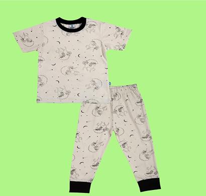 cuddledoo magical unicorn nightwear set night wear set unisex kids wear cotton (white)