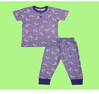cuddledoo wondrous unicorn pyjama set night wear set cotton kids wear (multicolor)