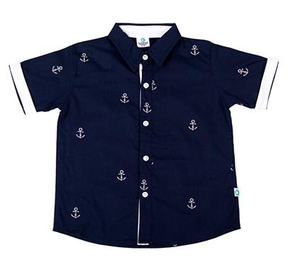 cuddledoo (cv11s119) navy blue anchor print boys shirt half sleeve collar