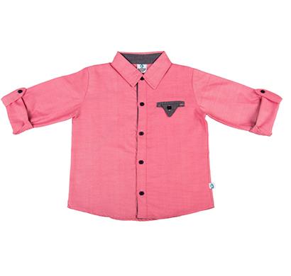 cuddledoo (cv14s119) pink full sleeve boys shirt cotton collar