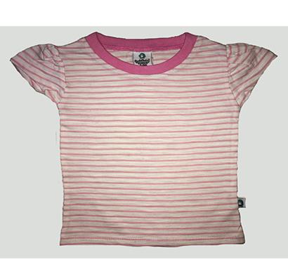 cuddledoo (cv18s119) baby pink stripes boys t shirt cotton round neak