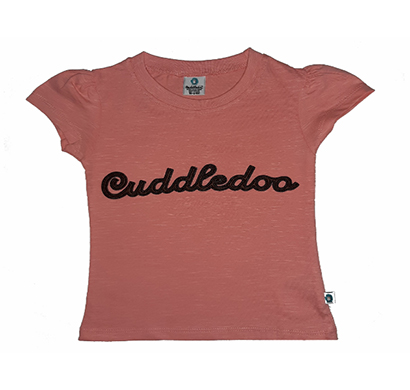 cuddledoo (cv19s119) peach cuddledoo embroidery girls t shirt cotton round neak