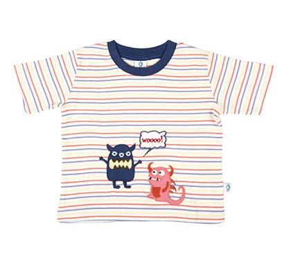 cuddledoo (cv9s317) scary monsters patch baby boys tee cotton round neck t shirt (multi color)