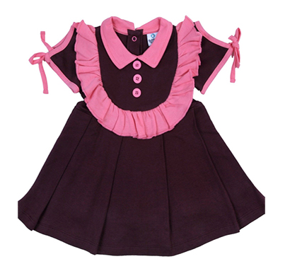 cuddledoo (cv13s317) chocolate brown pleated pink collared girls frock (brown)