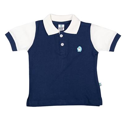 cuddledoo (cv8s317) navy contrast sleeve polo t-shirt polo neck boy (blue)