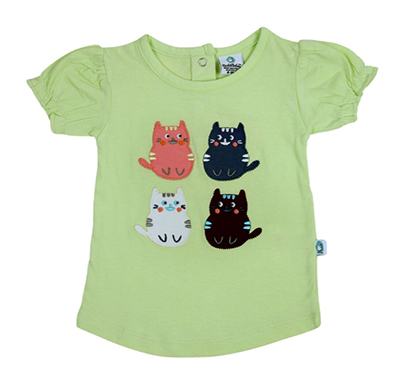 cuddledoo (cv2as317) kitty patch top for baby girls round neck (green)