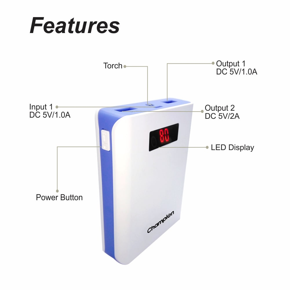 champion z-10 digital power bank 10400mah capacity (bis certified) - white & blue