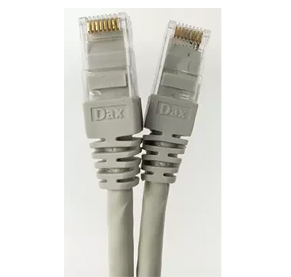dax (dx-c06001-grey) 1 meter cat.6 patch cord, 24awg, grey color, moulded factory crimped - 100% bare copper