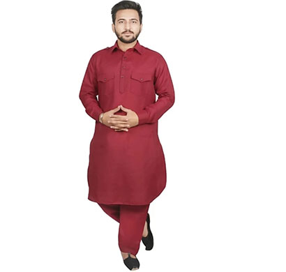 denim men's pathani suit with salwar maroon