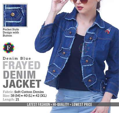denim frayed jacket soft cotton full sleeves blue