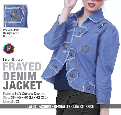denim frayed jacket soft cotton full sleeves ice blue