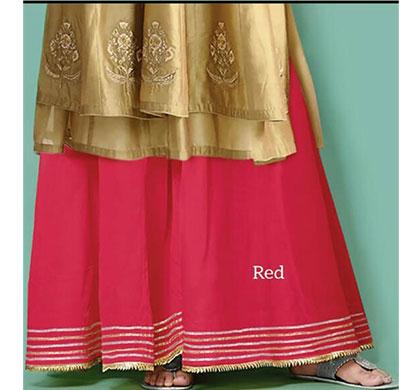 denim women cotton with silk look gota palazzo red
