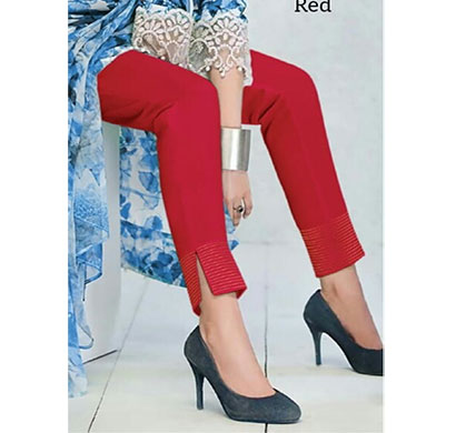 denim women luxry cotton linen zari pant with silk look red