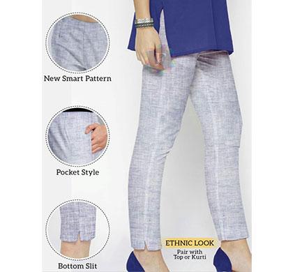 denim cotton linen women plain pant denim look