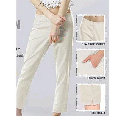 denim women linen ethnic and western plain pant off white