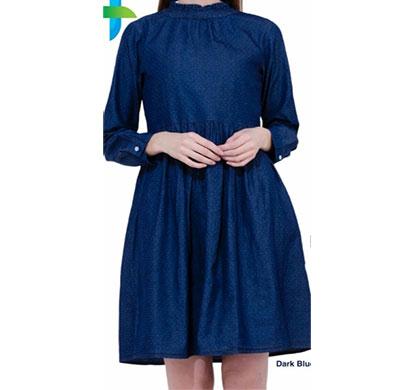 denim polka tunic soft full sleeves dark blue