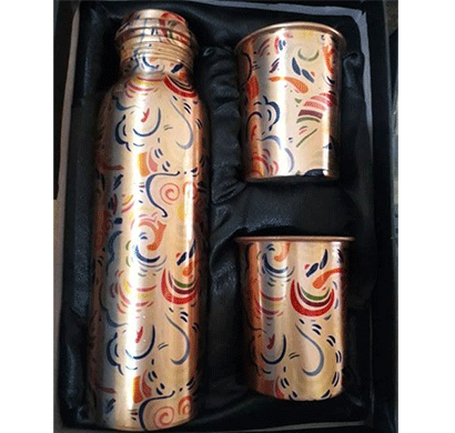 desiswags copper gifting sets ethically handmade copper bottle and gifting sets bottle with 2 glass, 1 ltr