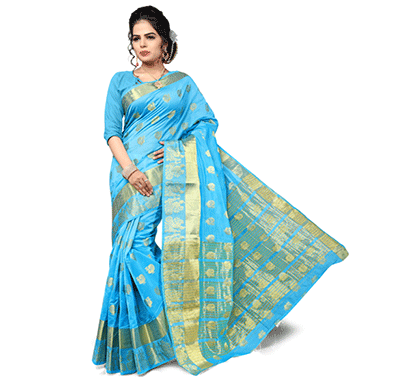 dhyana dcsrc1114a traditional south indian cotton silk woven saree blue