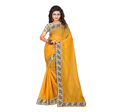dhyana traditional south indian chanderi cotton saree yellow