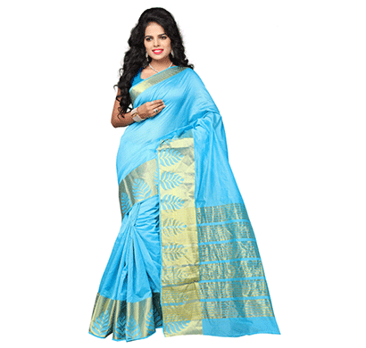 dhyana banarasi style woven zari work cotton silk for women's skay blue