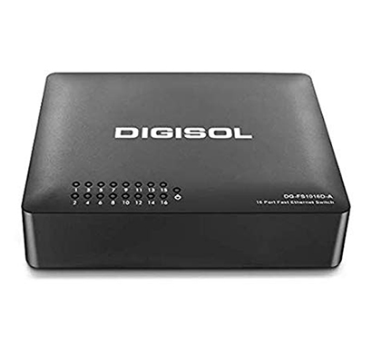 digisol (dg-fs1016d-a/is) 16-port fast ethernet unmanaged desktop switch with external power adapter (black)