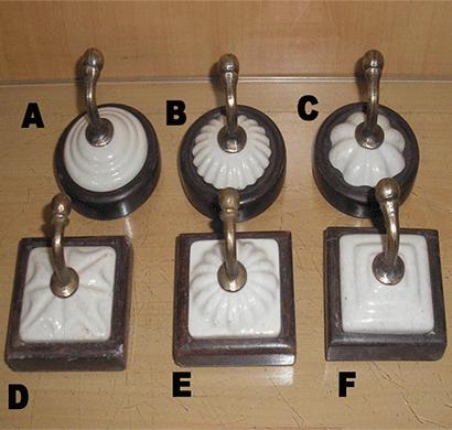 dileep 1285/108 ceramic tile hook set of 6 white