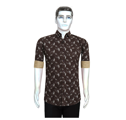 duff men cotton casual shirt printed ( dark brown)