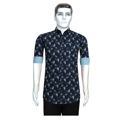 duff men cotton casual shirt printed ( dark blue)