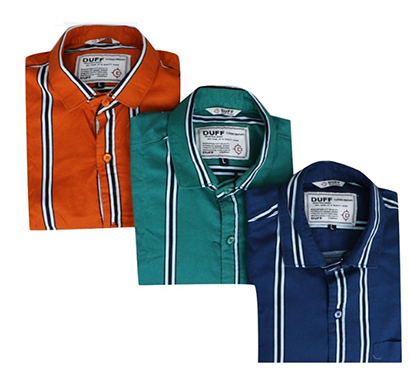 duff (1597) men 100% cotton casual striped shirts ( multicolor)