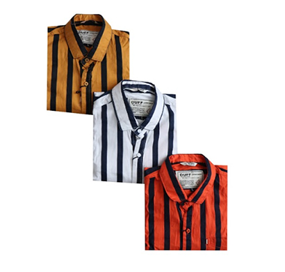 duff (1613) men 100% cotton casual striped shirts ( multicolor)