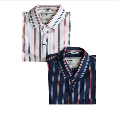 duff (1589) men 100% cotton casual striped shirts ( multicolor)