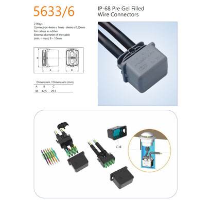 encapsuled 5633.6 pre gel filled wire connector