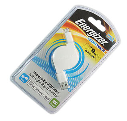 energizer hightech usb retractable cable lightning - white