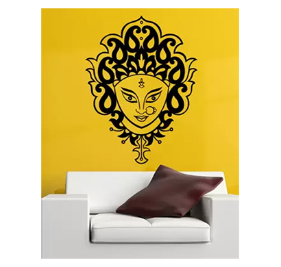 enormous kart devi maa on wall medium spritual sticker black (pack of 1)