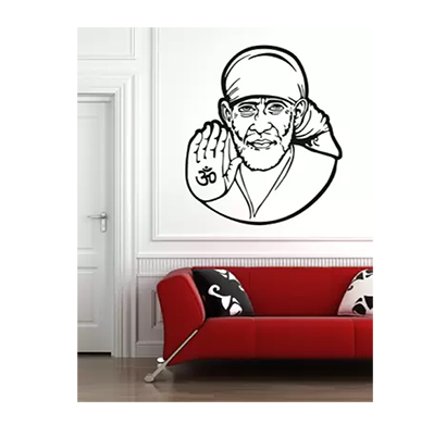 enormous kart sai baba on wall medium spritual sticker (pack of 1)