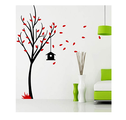 enormous kart on wall bird house tree wall stickers red