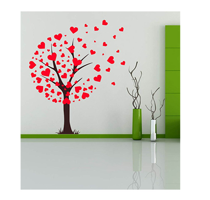 enormous kart wall heart tree wall stickers - green