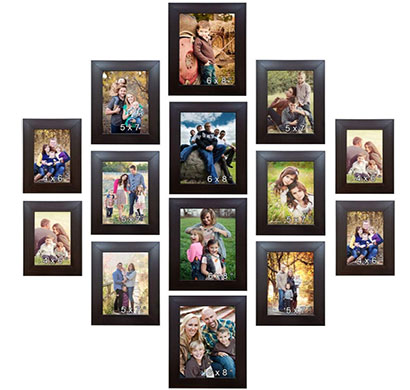 enormous kart on wall wooden memory wall-photo frame - set of 14