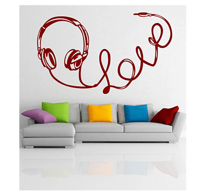 enormous kart on wall red pvc lovely headphone wall sticker