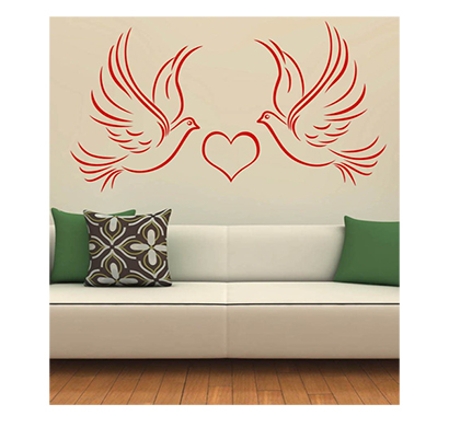 enormous kart on wall red pvc lovely birds wall sticker