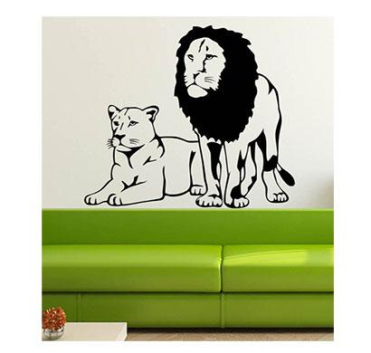 enormous kart wall pvc tiger & lion wall sticker (black)