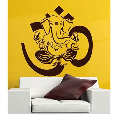 enormous kart wall pvc ganesh ji on wall sticker (brown)