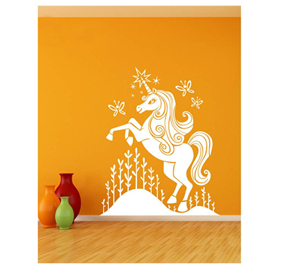 enormous kart on wall white baby unicorn wall sticker